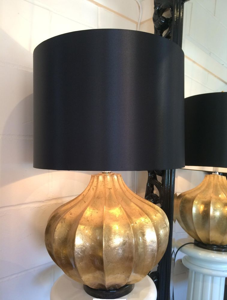 Large Gold Chunky Base Modern Table Lamp Black Shade Bedside