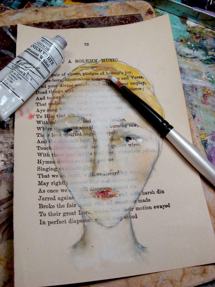 Malen Sie Gesichter mit Ölpastellen, Aquarellen und weißer Gouache  #aquarellen #gesichter #gouache #malen #olpastellen #paintingartideas #artjournalmixedmediainspiration