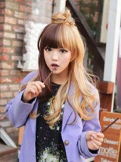 Half Brown Half Blonde Hair Google Search Hair Color Pink