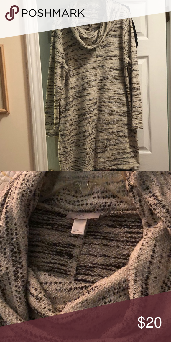 Loft Cowl Neck Sweater Dress Long Sleeve Cowl Neck Sweater Dress Marbled Look Worn Once And In Great Condition I M 5ft And It Hit Belo In 2020 Cowl Neck Sweater Dress