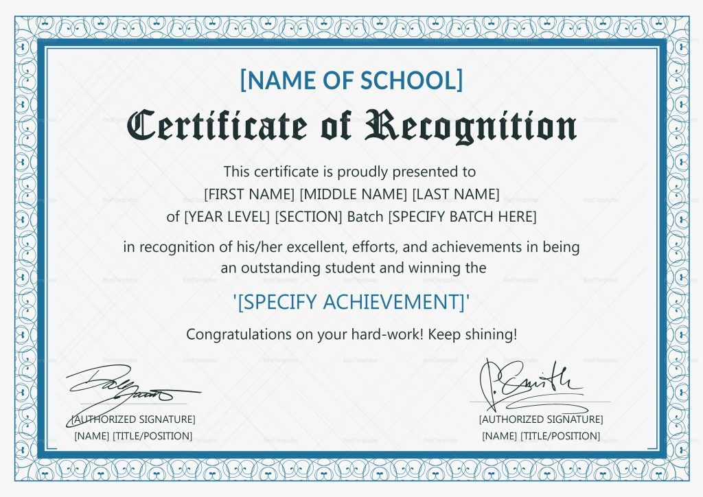 Outstanding Student Recognition Certificate Design Template In Psd