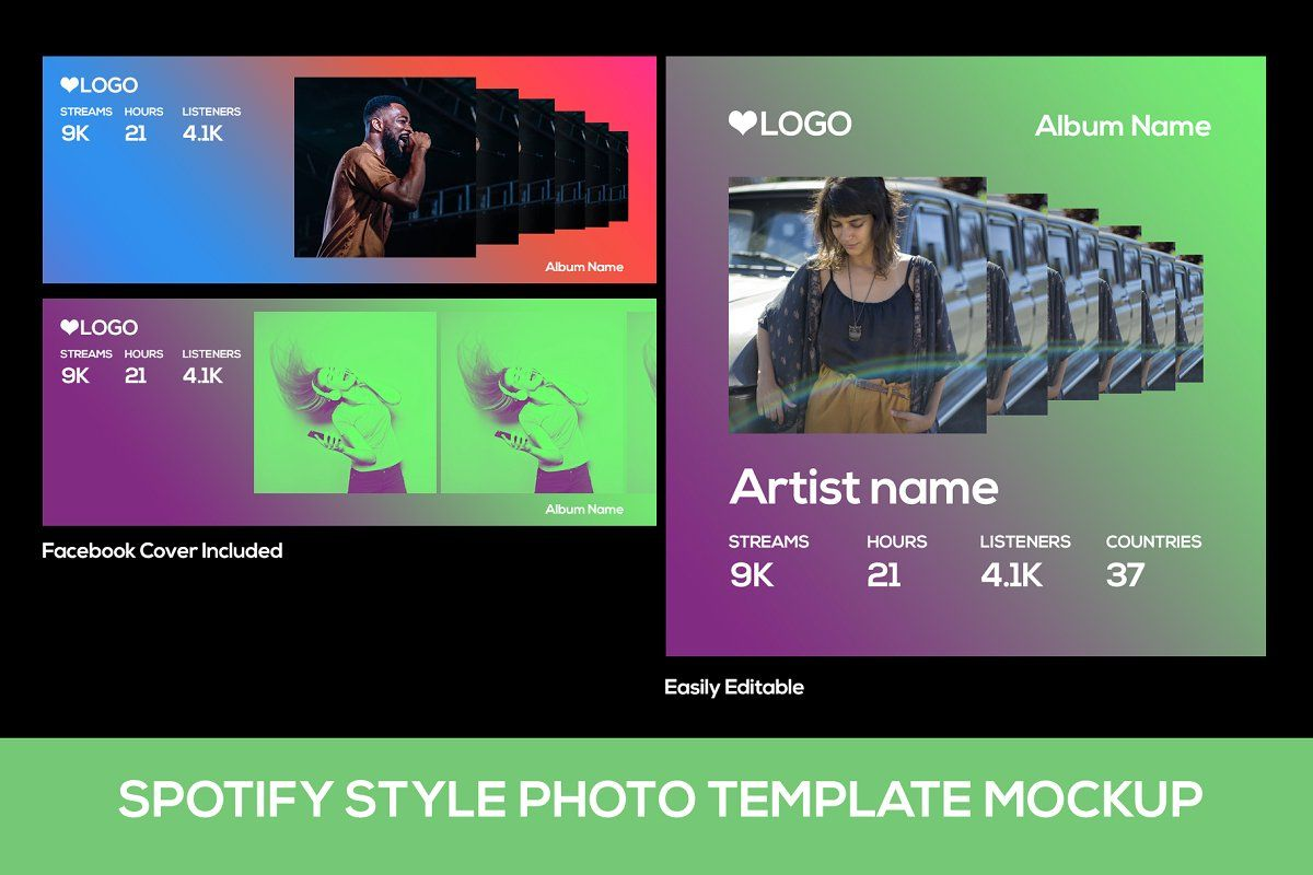 Spotify Style Photo Template Facebook Cover Photo Template Photo Template Colorful Backgrounds