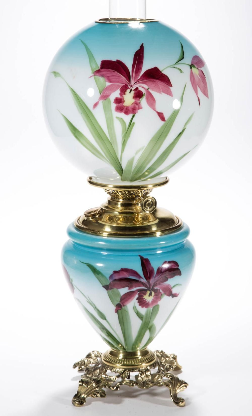 Sold Price Victorian Enamel Decorated Parlor Gone With The Wind Lamp July 5 0118 9 30 Am Edt Glass Jewelry Box Gone With The Wind Lamps Lamp