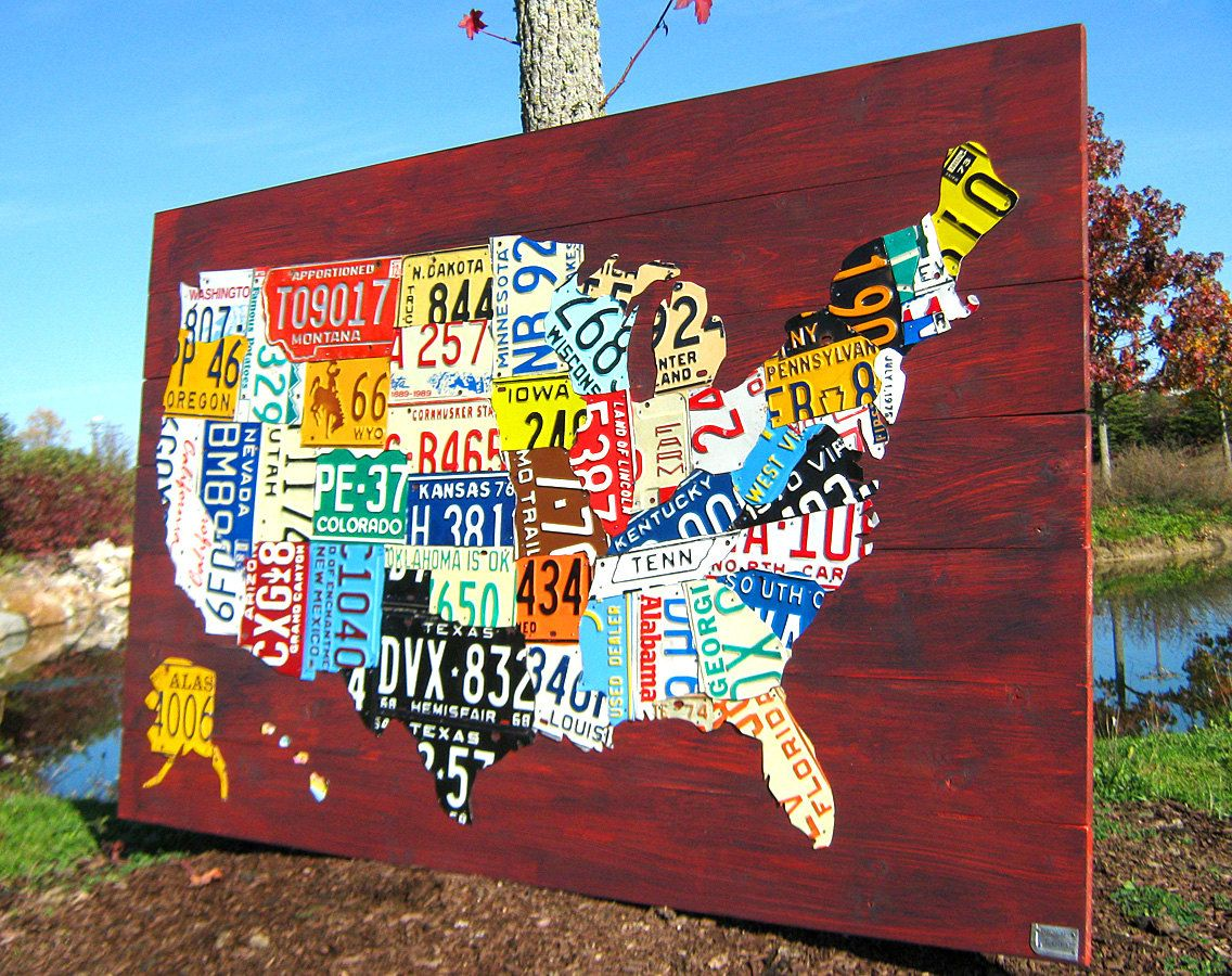 Extra Large License Plate Map Of The United States X USA - License plate usa map