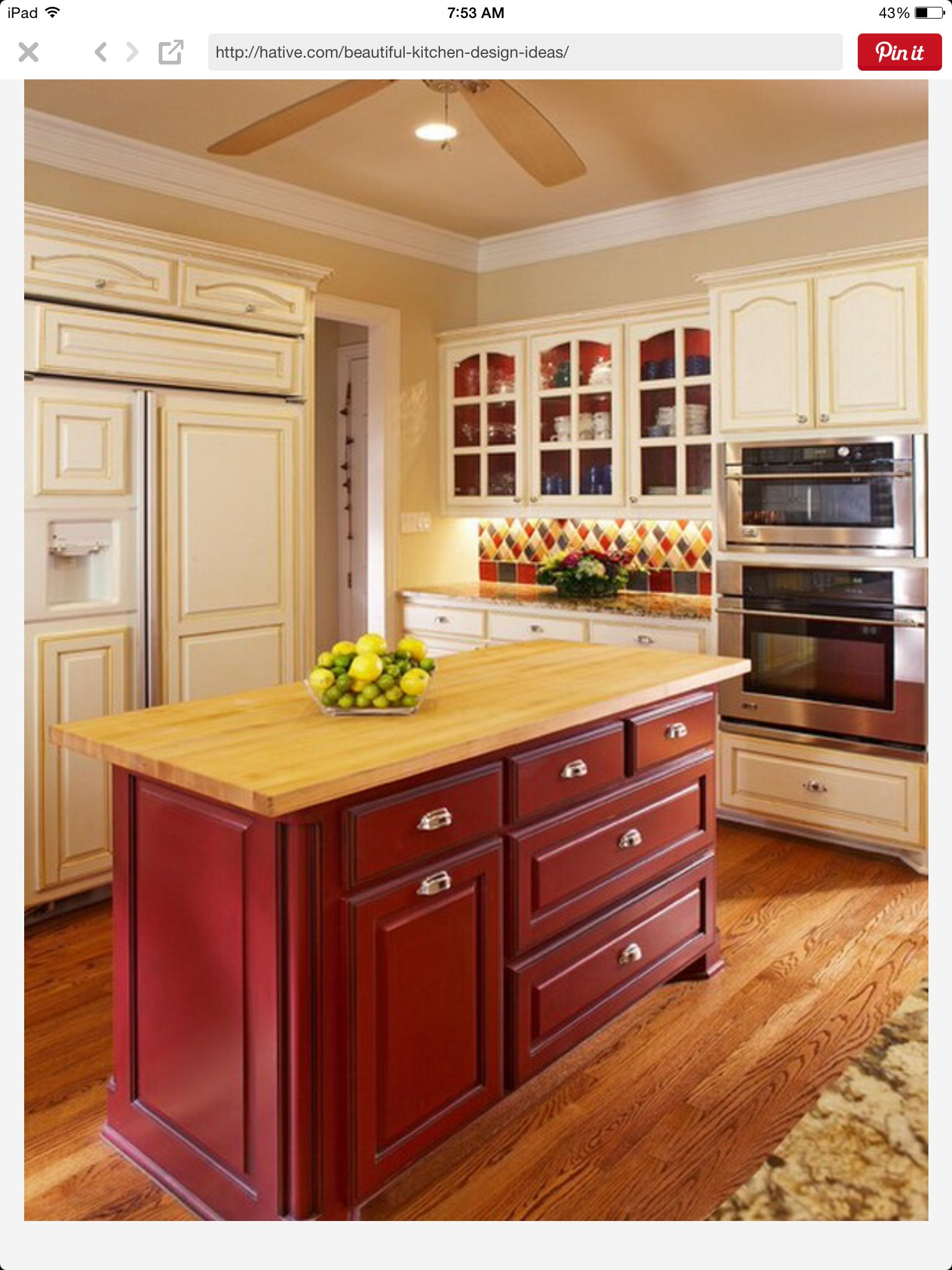 This Is Exactly How I Want My Kitchen Red Kitchen Cabinets Barn Red Kitchen Red Kitchen Island