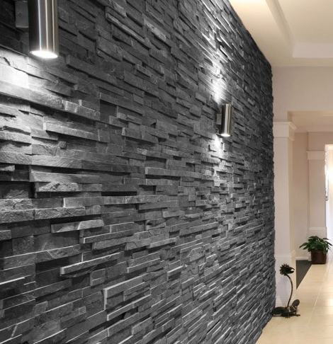 Slate Black Split Face 15x60 wall tile. An interlocking natural ...
