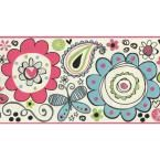 York Wallcoverings Red Teal Painted Flower Butterfly Kids