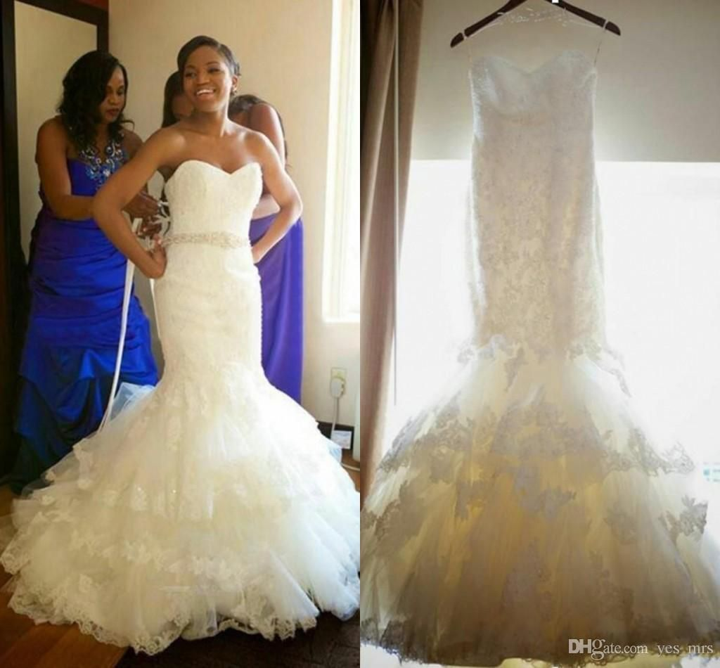 new african mermaid wedding dresses plus size lace appliques
