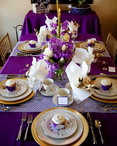 Purple And Gold Dinner Party Tablescape B Lovely Events Wedding Table Settings Purple Purple And Gold Wedding Gold Table Setting