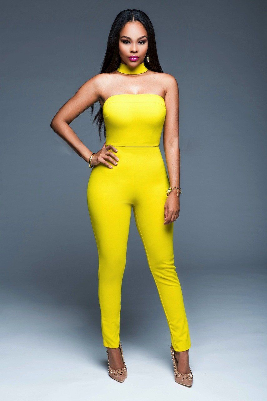 0d47cf57f1db Yellow Sexy Strapless Jumpsuits with Matching Neck Band. Jumpsuit Strapless  Bodysuit ...