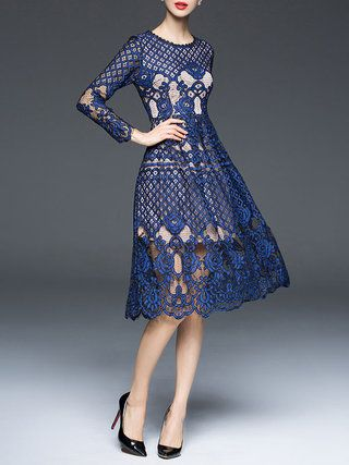 Lace A-line Elegant Long Sleeve Crew Neck Midi Dress
