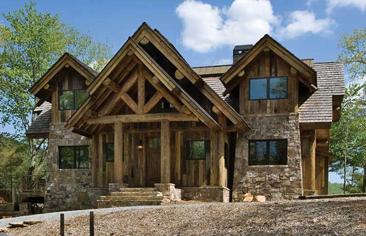 House plans for small post and beam homes and cottages for Log and stone home plans