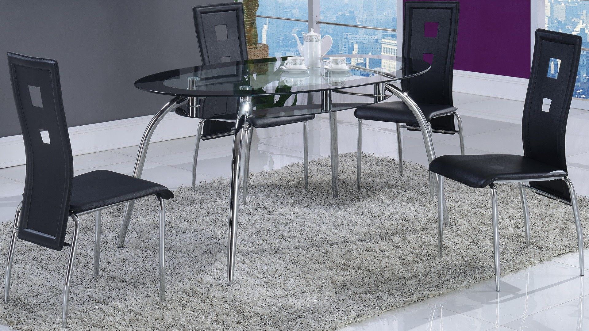 Global D1057Dt Dining Table  Oval Dining Table With Glass