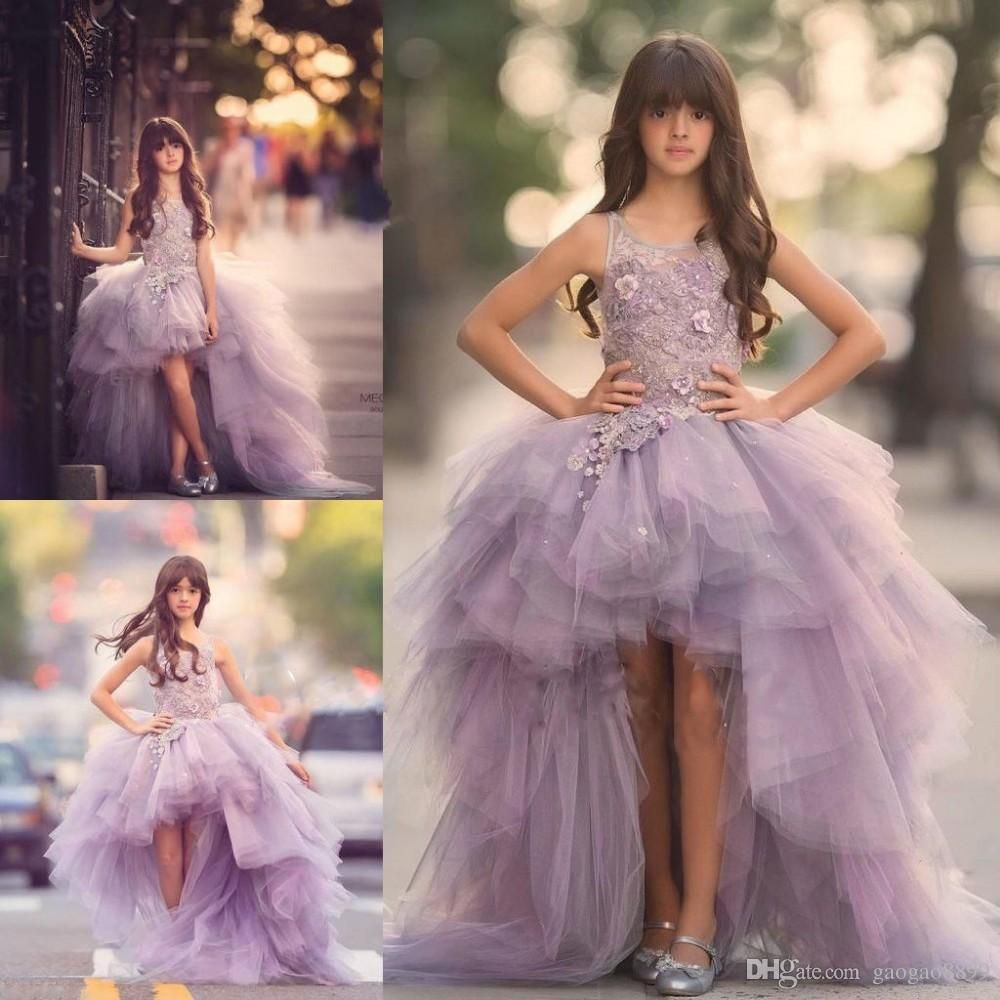 Communion Dresses For Girls 2017 Lilac Flower Girl High Low Floor Length Lace Tulle Ball Gown Kids Wedding Party Pageant