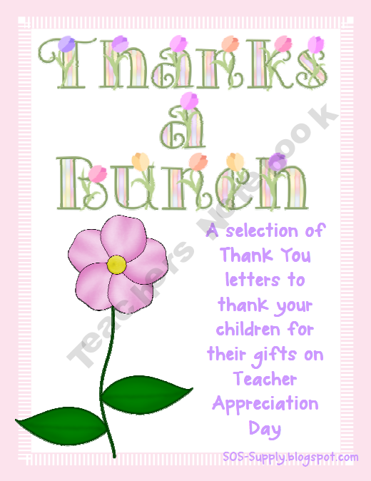 Thanks A Bunch  Thank You Notes For Teachers  Gifts