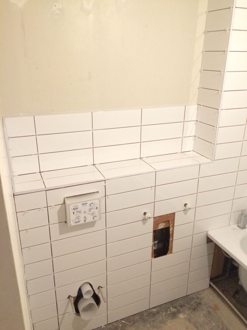 Shelf, wall hung toilet and sink brackets tiled. All ready for ...