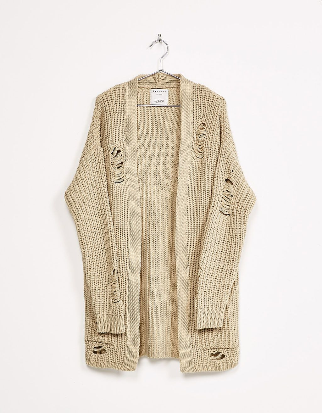 Ripped oversized jacket - Knitwear - Bershka United Kingdom