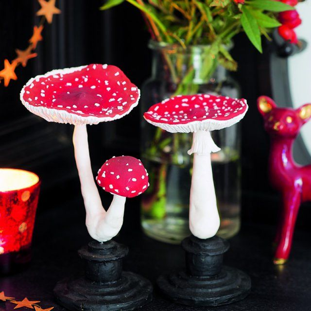 champignons modelés en pâte polymère