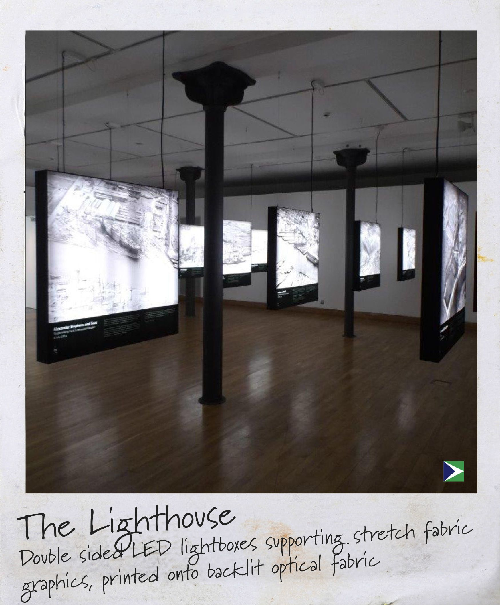 Stretch Fabric Exhibition Stands : The lighthouse led lightboxes supporting stretch fabric