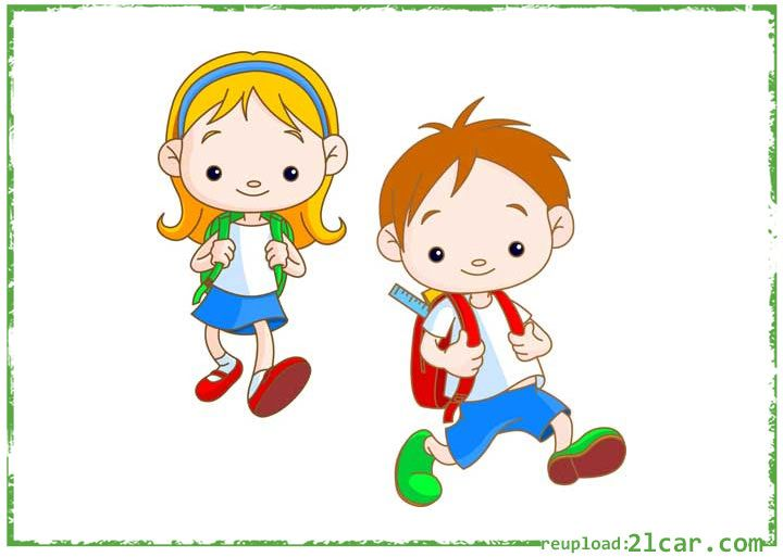 Gambar Kartun Anak Sekolah Berangkat Bersama  chi