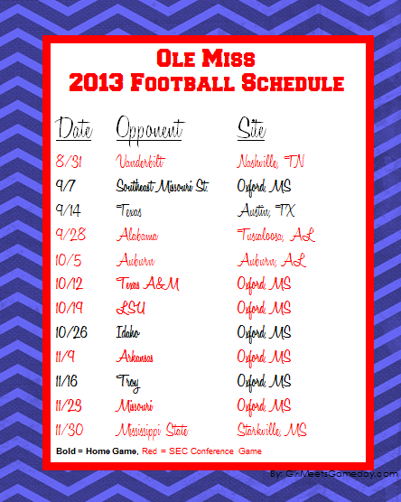 2013 Ole Miss Football Schedule Printable Ole Miss Football Ole Miss Ole Miss Tailgating