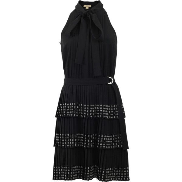 Michael Kors Grommet Pleated Dress ($2,895) ❤ liked on Polyvore featuring dresses, michael kors dresses, tie front dress, american dress, slimming dresses and button front dress