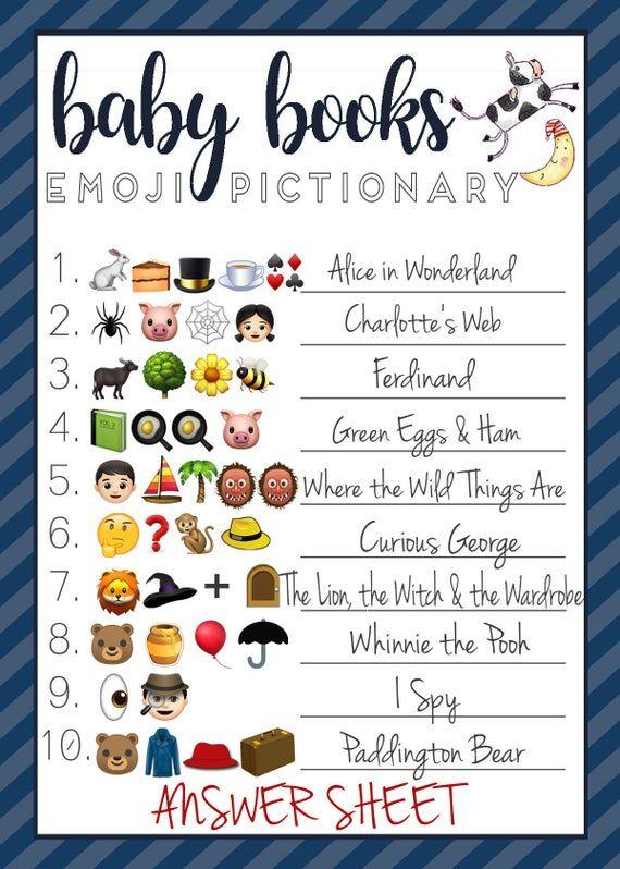 Baby Shower Emoji Pictionary : shower, emoji, pictionary, Shower, EMOJI, Books, Nursery, Rhymes, Book,, Virtual, Ideas,