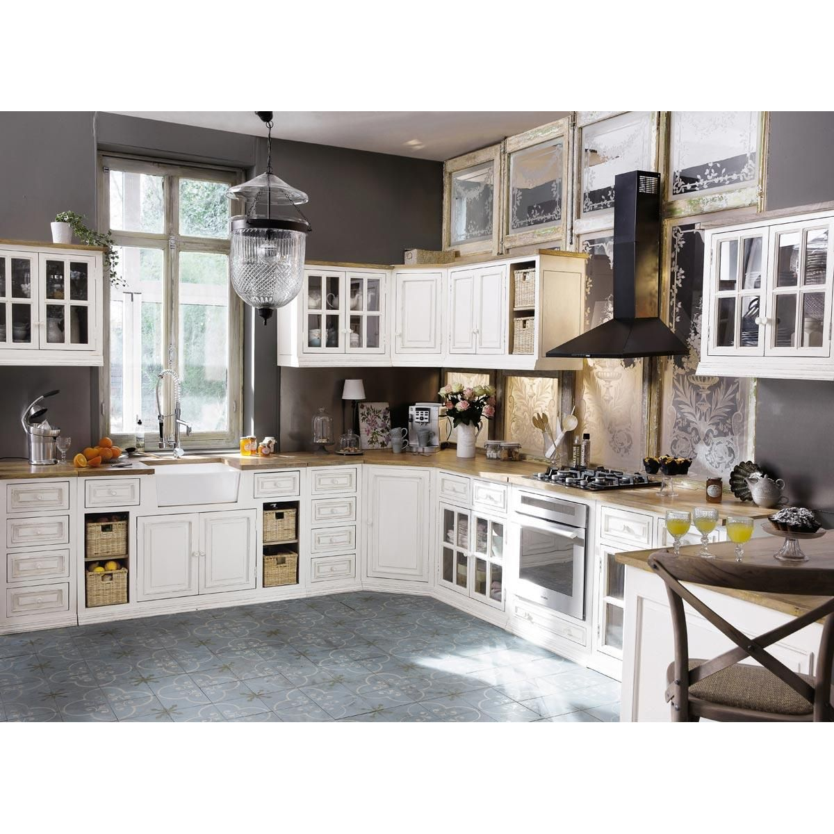 Mueble bajo de cocina marfil de mango acristalado | Muebles bajos de ...