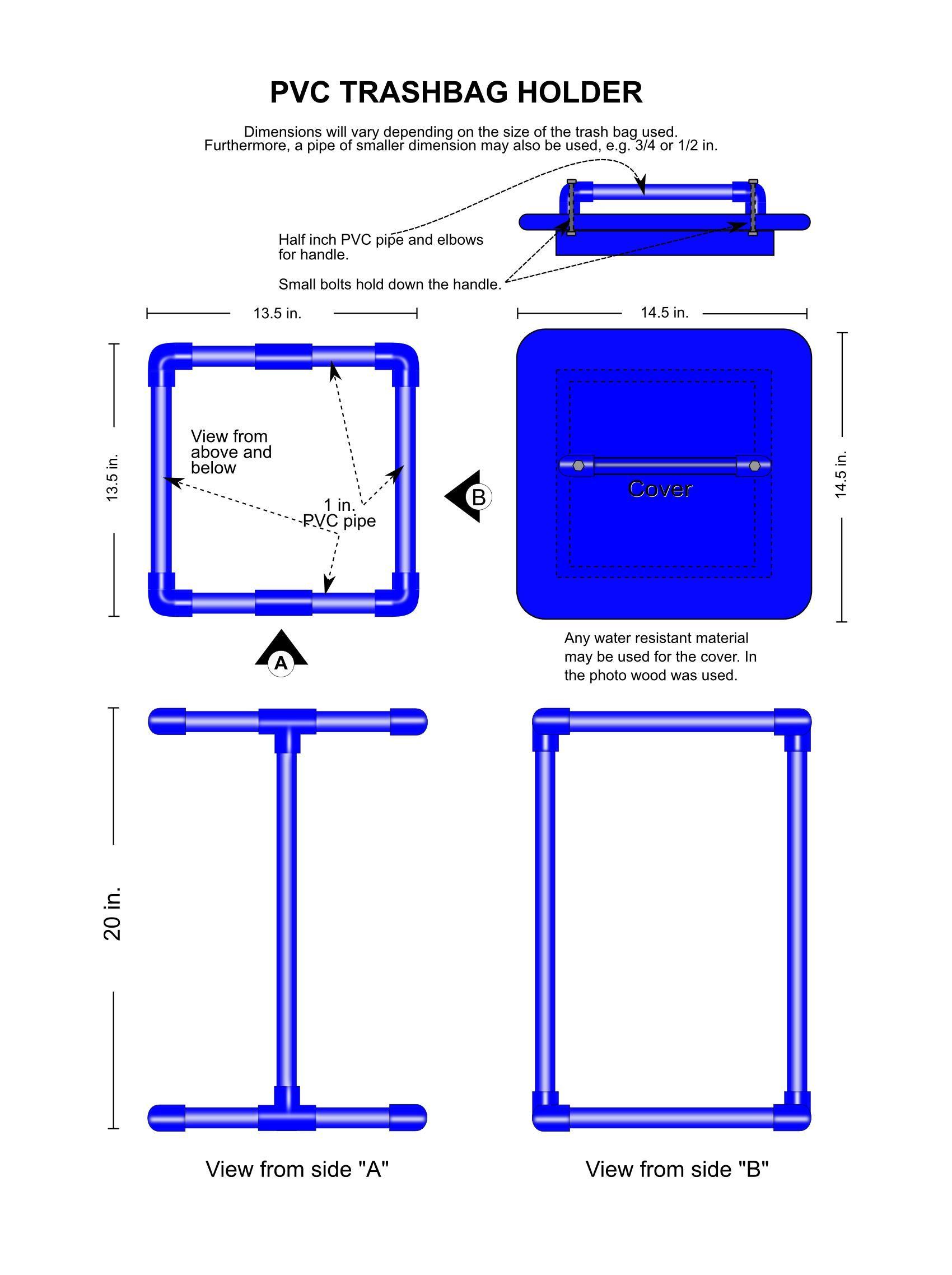 Build A Pvc Trash Bag Holder With Lid Trash Bag Garbage