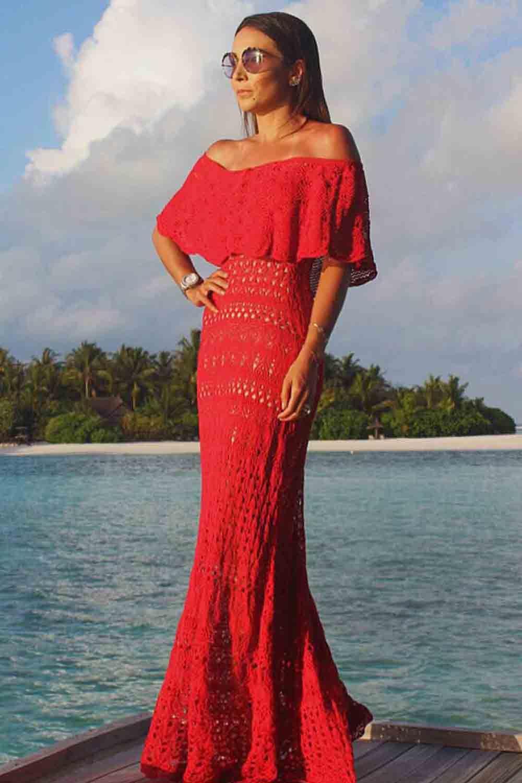 Vestido Trico Longo Ombro a Ombro Royal | Galeria Tricot