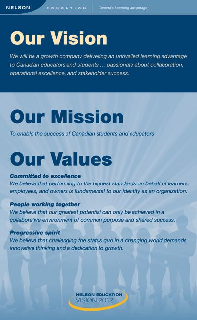 Nelson Education Ltd - Our Vision Mission and Values Engagement - best of 10 sample company mission statement
