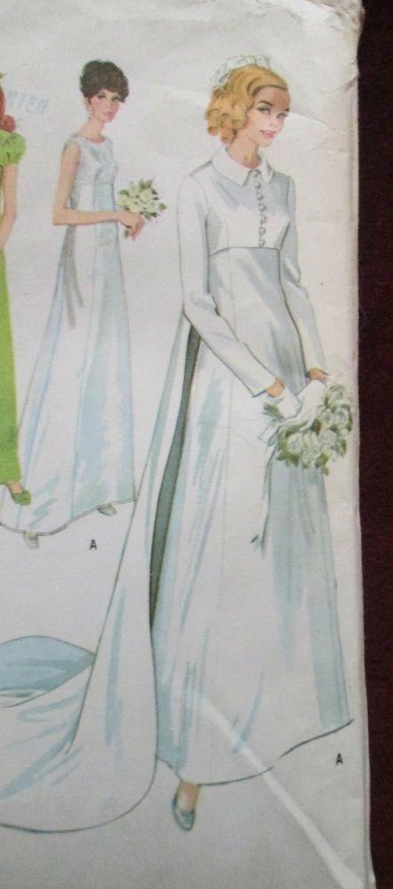 Vintage McCalls 9227 HIGH WAIST WEDDING DRESS & JACKET Sewing Pattern Women Sz14