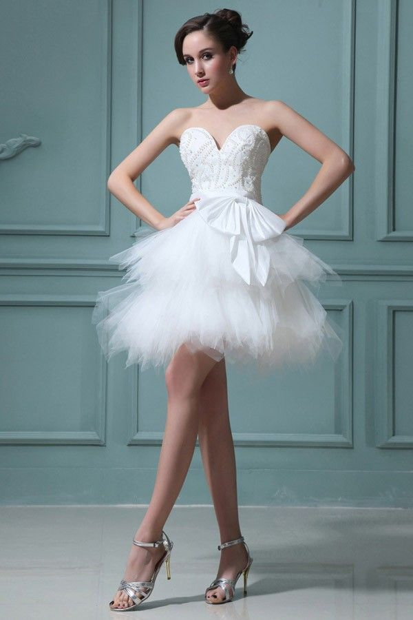Sweetheart Short Wedding Dress With Two Layers Of Pleated Organza ...