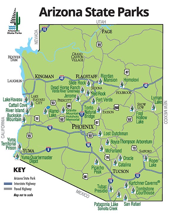 Travel Map Of Arizona.Az Asp Park Map Overview Reservations States Arizona