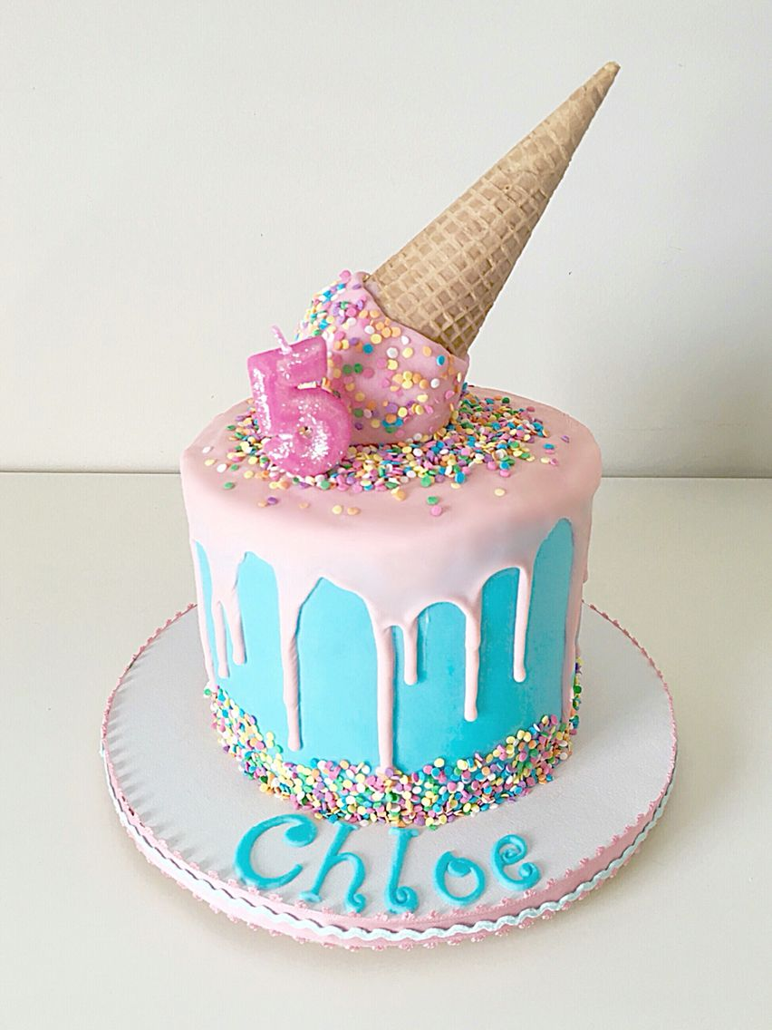 ice cream drip cake ava and liams 5th birthday party in