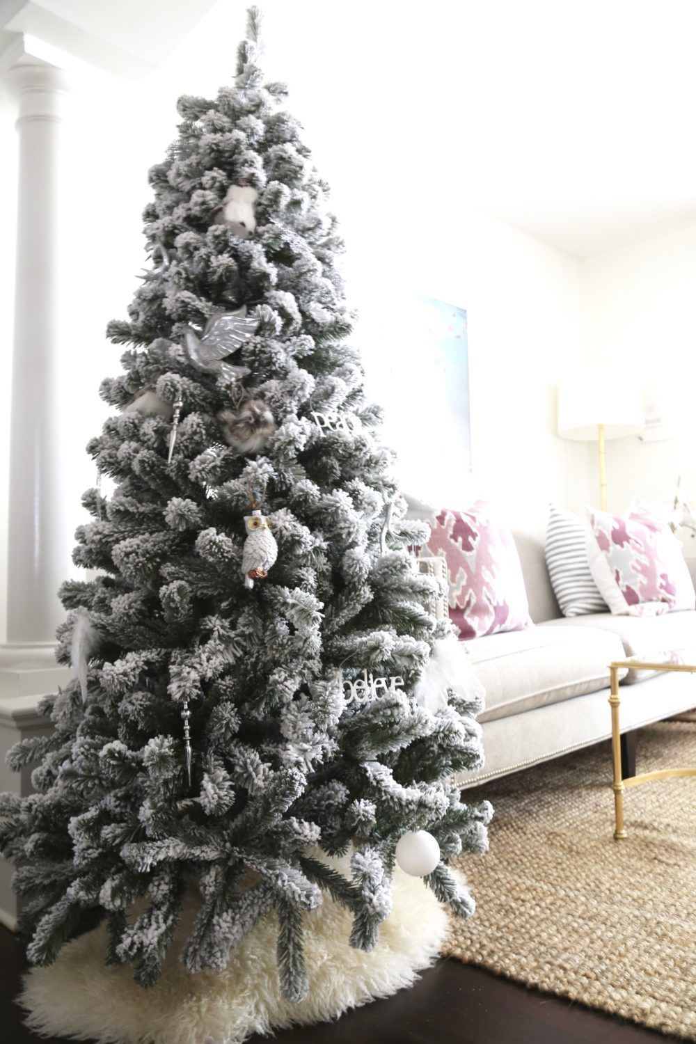 6.5 ft flocked christmas tree with warm led lights $200 ...