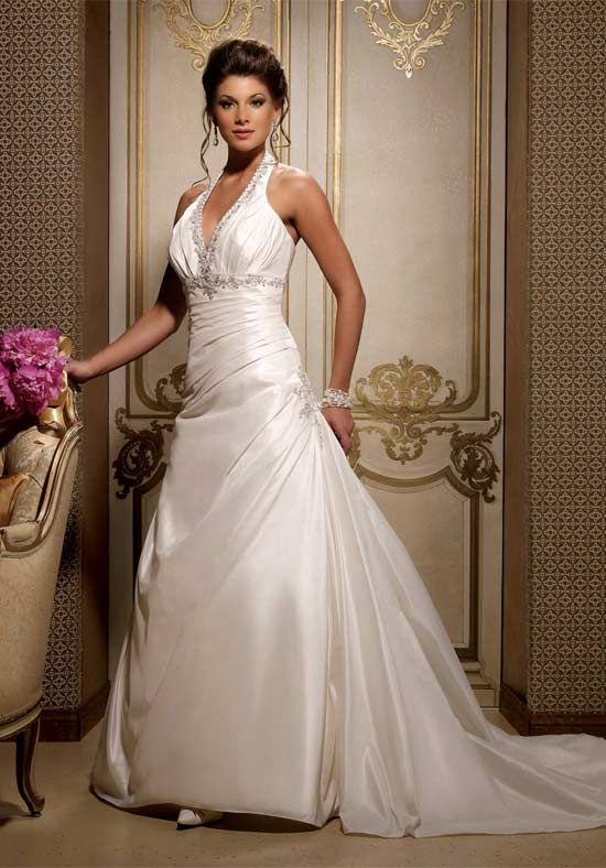 Ivory halter wedding dresses very