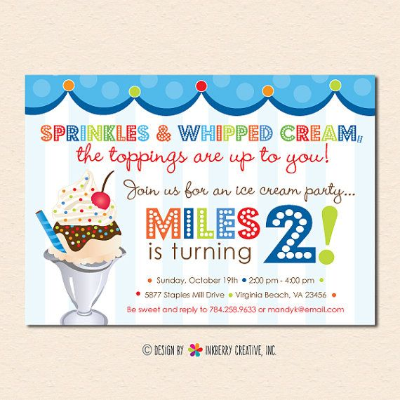 Sprinkles On Top Ice Cream Sundae Birthday Party Invitation Digital File OR Cardstock Printed Cards