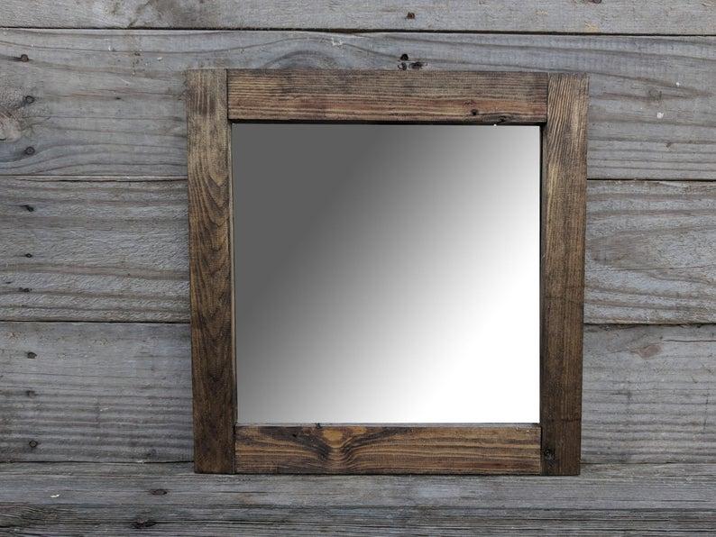 Farmhouse Bathroom Mirror Wooden Mirror Bathroom Decorative Etsy Wooden Mirror Mirror Decor Square Mirror