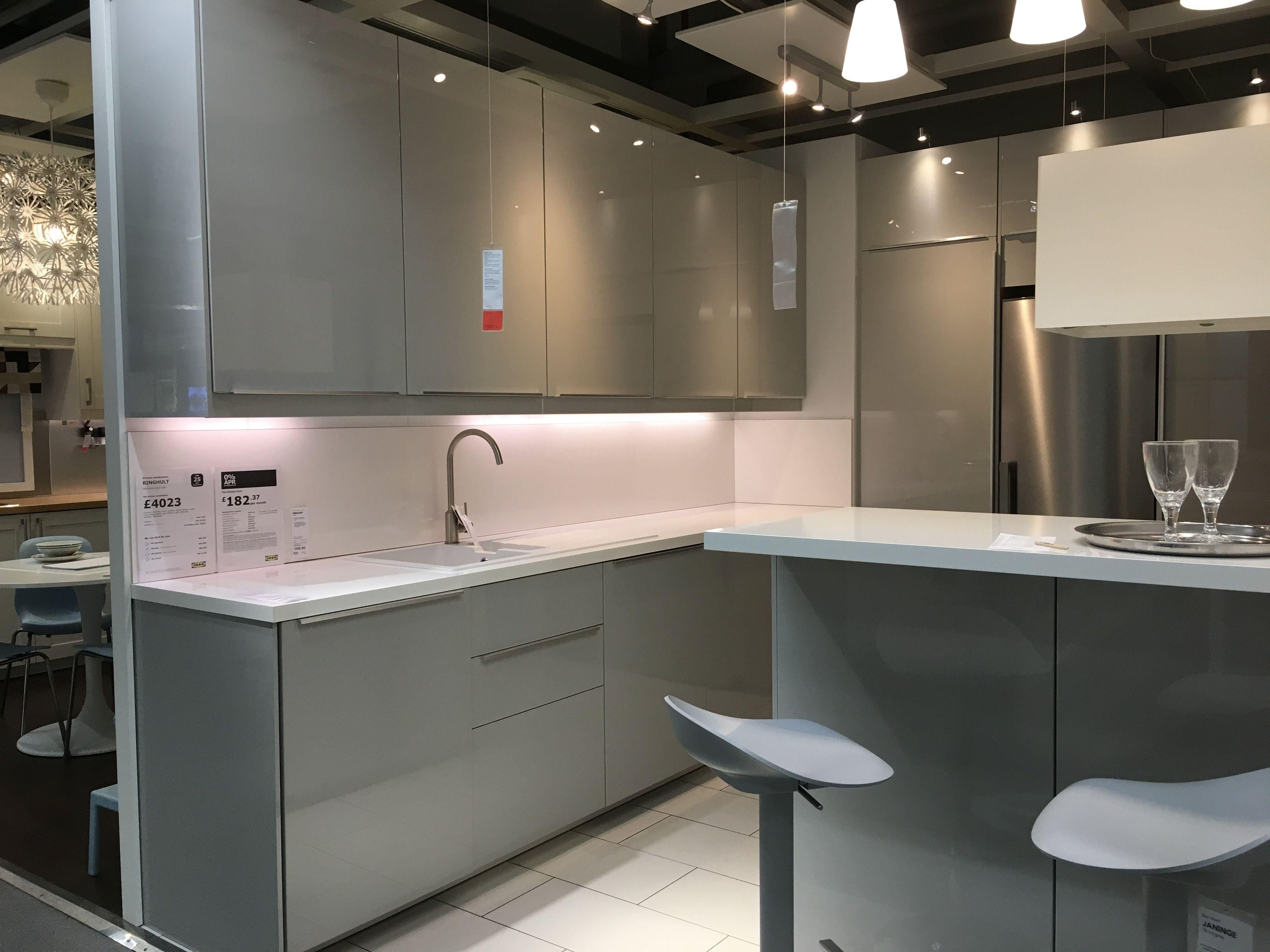 Ikea Ringhult Gloss Light Grey Kitchen Light Grey Kitchens
