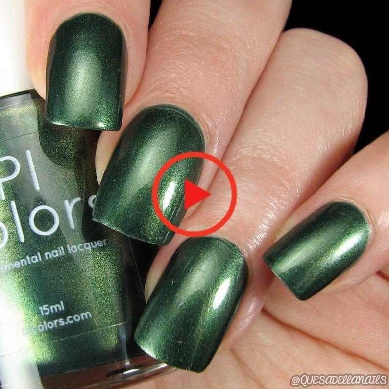 Forest Green Nail Polish with Metallic Finish   JuniperNight.001