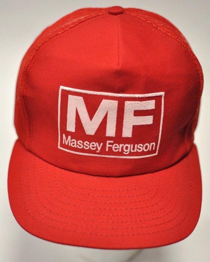 90d654ca Vintage Red Massey Ferguson Snapback Mesh Trucker Cap Hat MF Patch Tractor  Farm #MasseyFerguson #TruckerHat