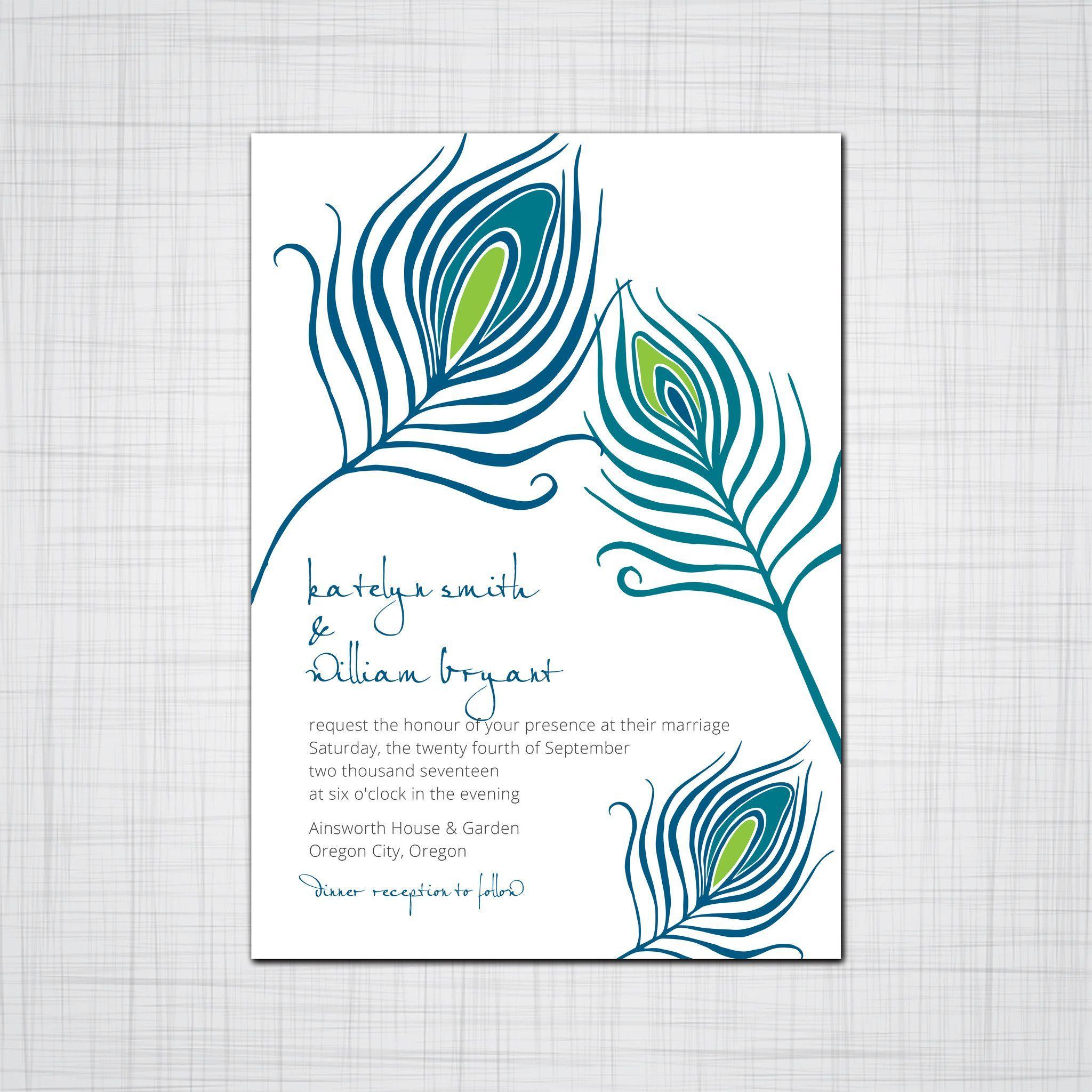 Peacock feather wedding invitations bird feather event invitations