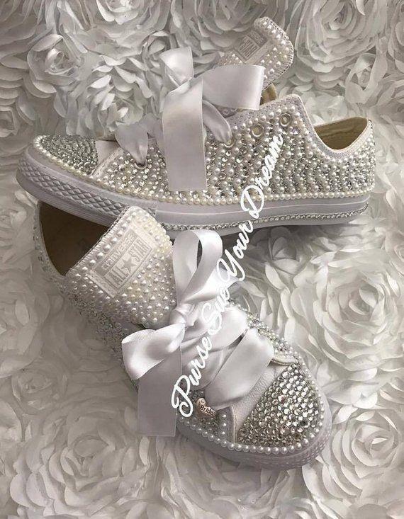 Pearl and Crystal Rhinestone Custom Converse Wedding Shoes - Custom - Bride  Shoes - Pearl Wedding Sh 6cca0e8153
