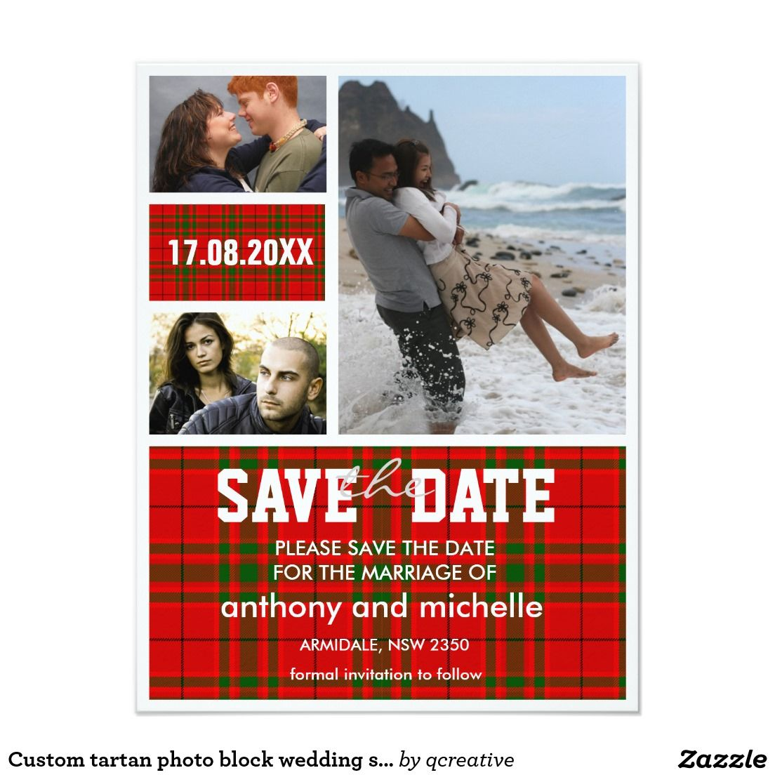 Custom tartan photo block wedding save the date | Pinterest ...
