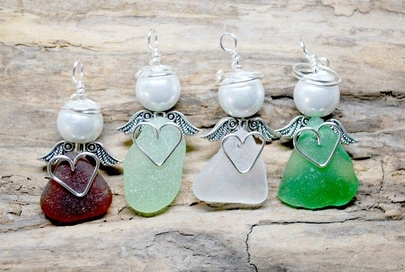 Photo of Sea Glass Angel, Sea Glass Guardian Angel, Beach Glass Angel, Beach Angel, Sea Glass Gift, Gift For Nurse, Gift For Friend, Small Angel