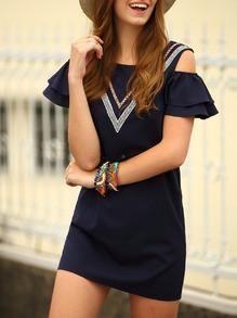 Women's Fashion Navy Off-The Shoulder Ruffled Layered Sleeve V Panel Shift Dress