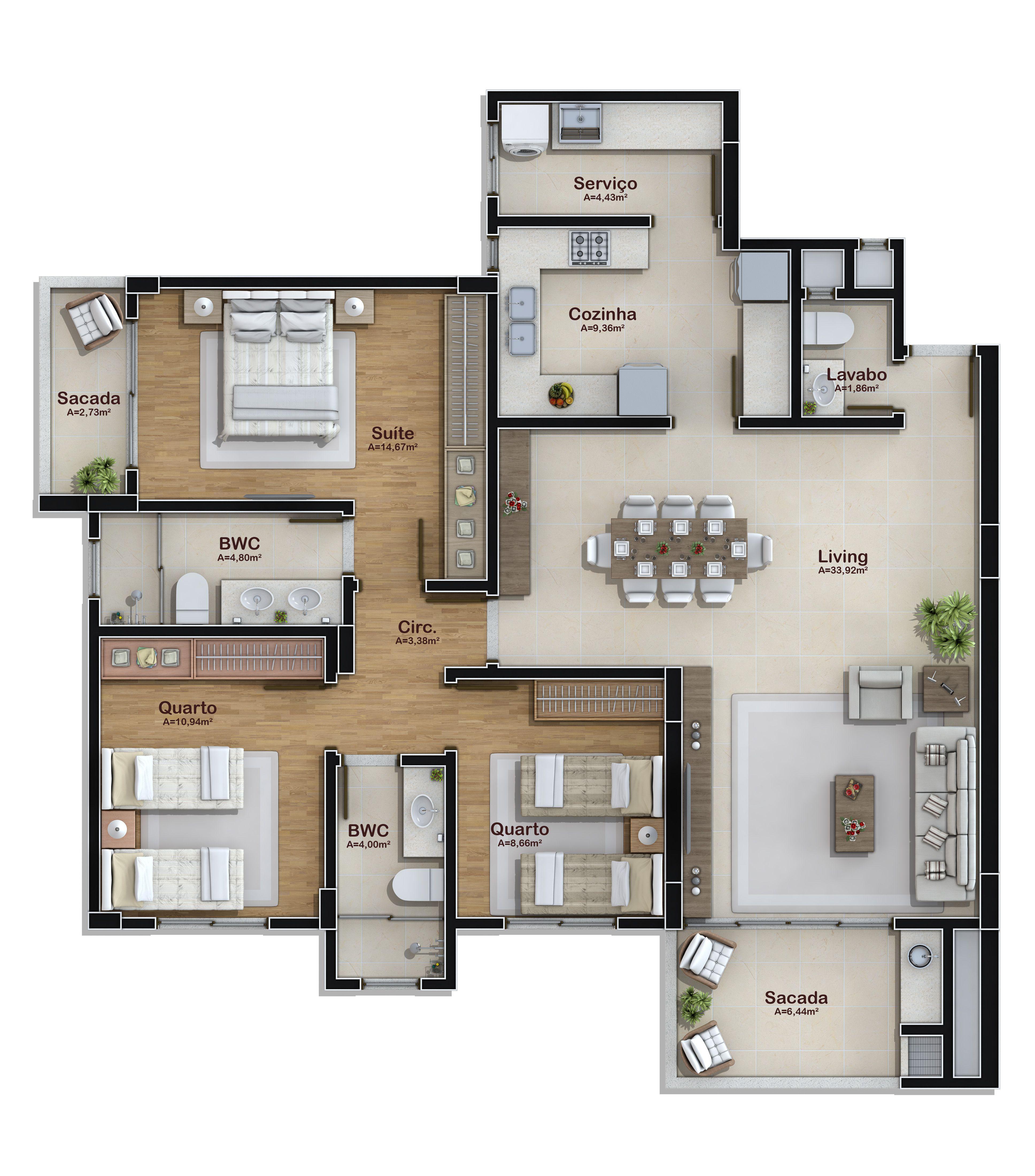 3 Dormitorios 2 Vagas Garagem 120 M Grundrisse Bungalow
