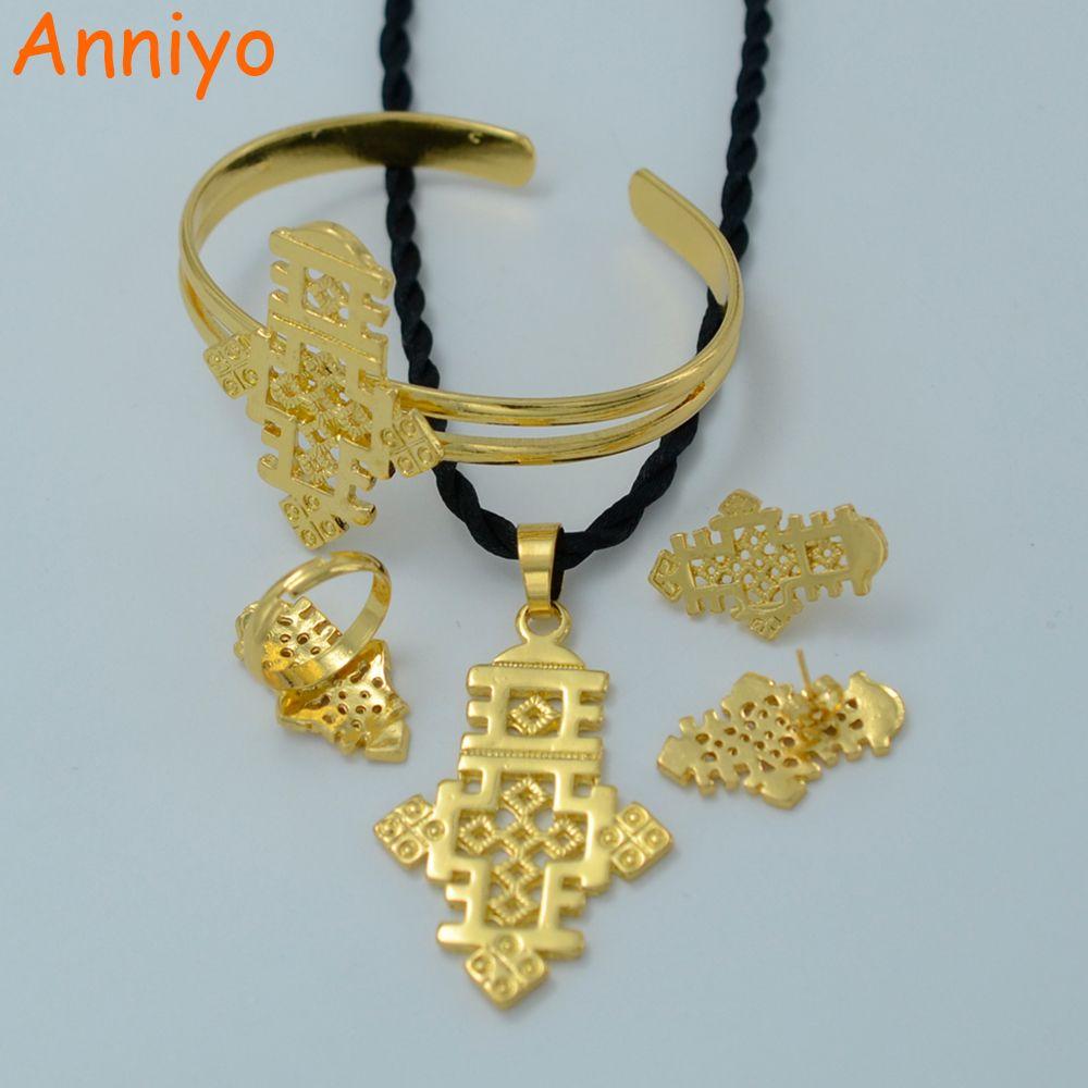 Anniyo ethiopian cross jewelry set gold color pendant chainearrings