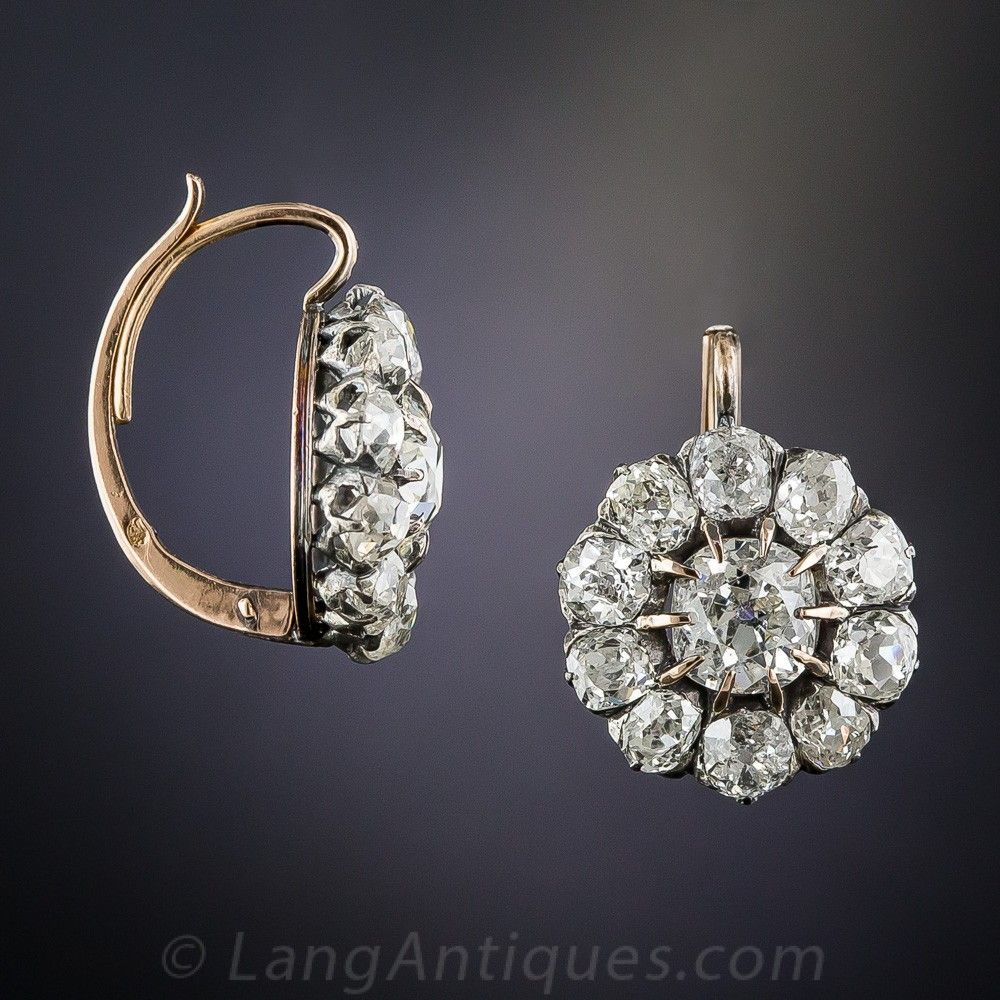60b5babc9cc261 French Antique Diamond Cluster Earrings | want in 2019 | Cluster ...